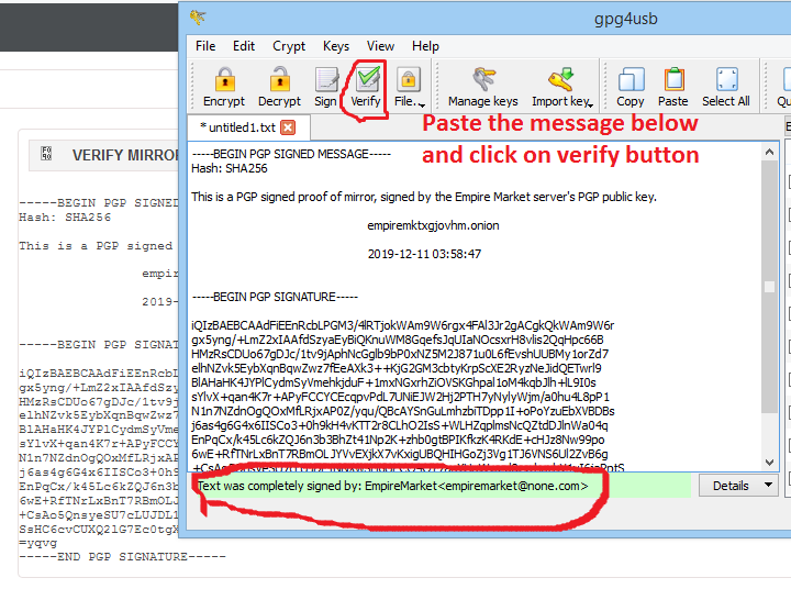 verify the pgp signed message