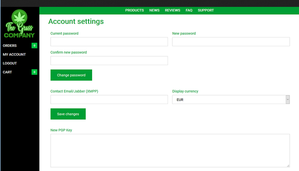 grasscompany Account settings page