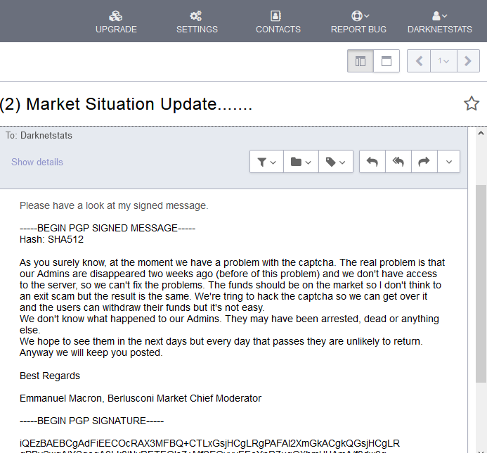 screenshot of email we received from berlusconi mod on 2nd october
