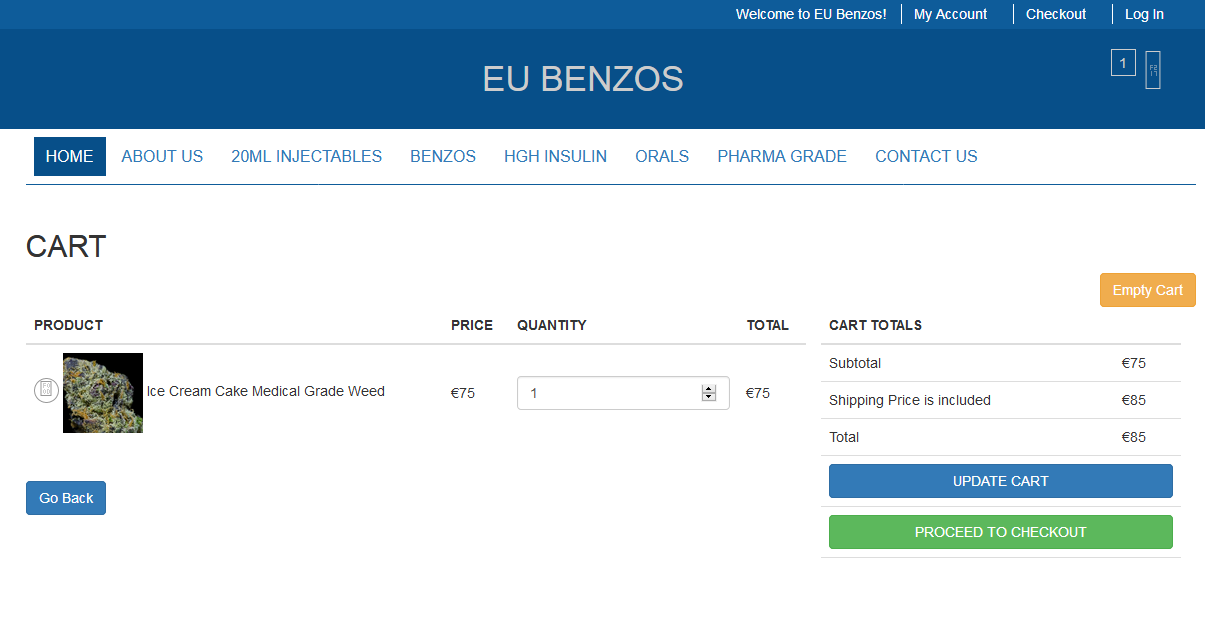 Eubenzos shopping cart page