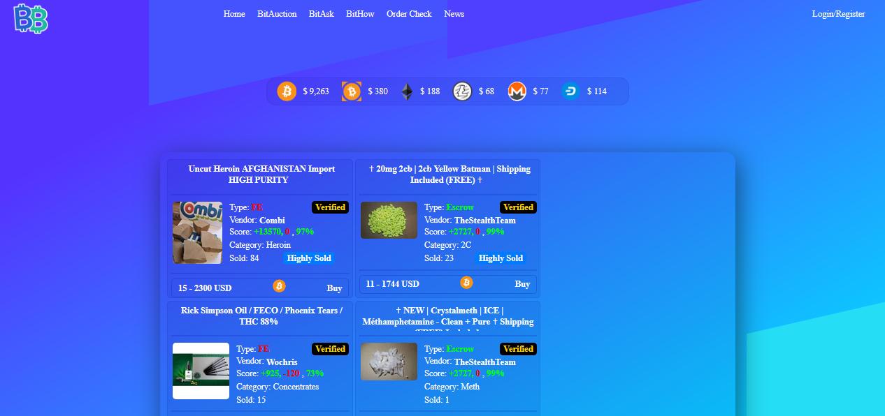screenshot of bitbazaar's homepage